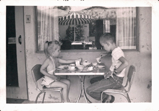 Lynn and Craig tea party in the patio